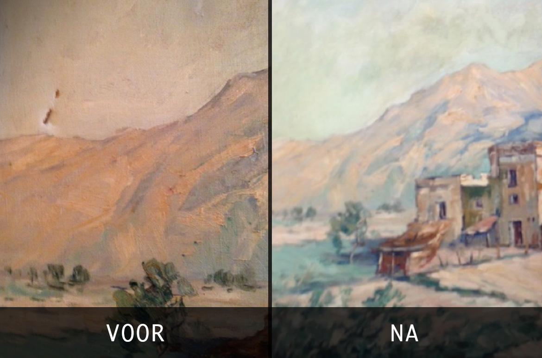 Herstel van beschadigd schilderij